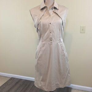 Lela Rose Cotton Sheath Collared Belted Midi